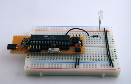 Arduino clone on a breadboard
