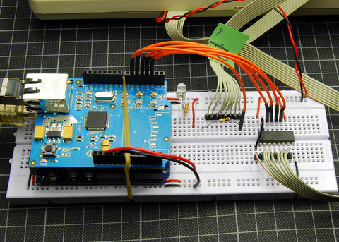 Arduino, Ethernetshield and a shift register 74HC595