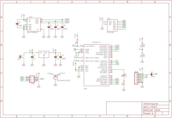 ADXL335 + ATmega328 + RFM12B (Schematic)